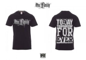 ONE FAMILY - SHIRT BLACK / SILVER PRINT - ALL SIZES