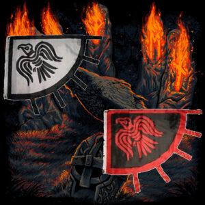 Viking Raven Black Red or Black White Flag 3'x4'