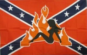 Rebel Lady with Flames - Flag - 3x5 ft